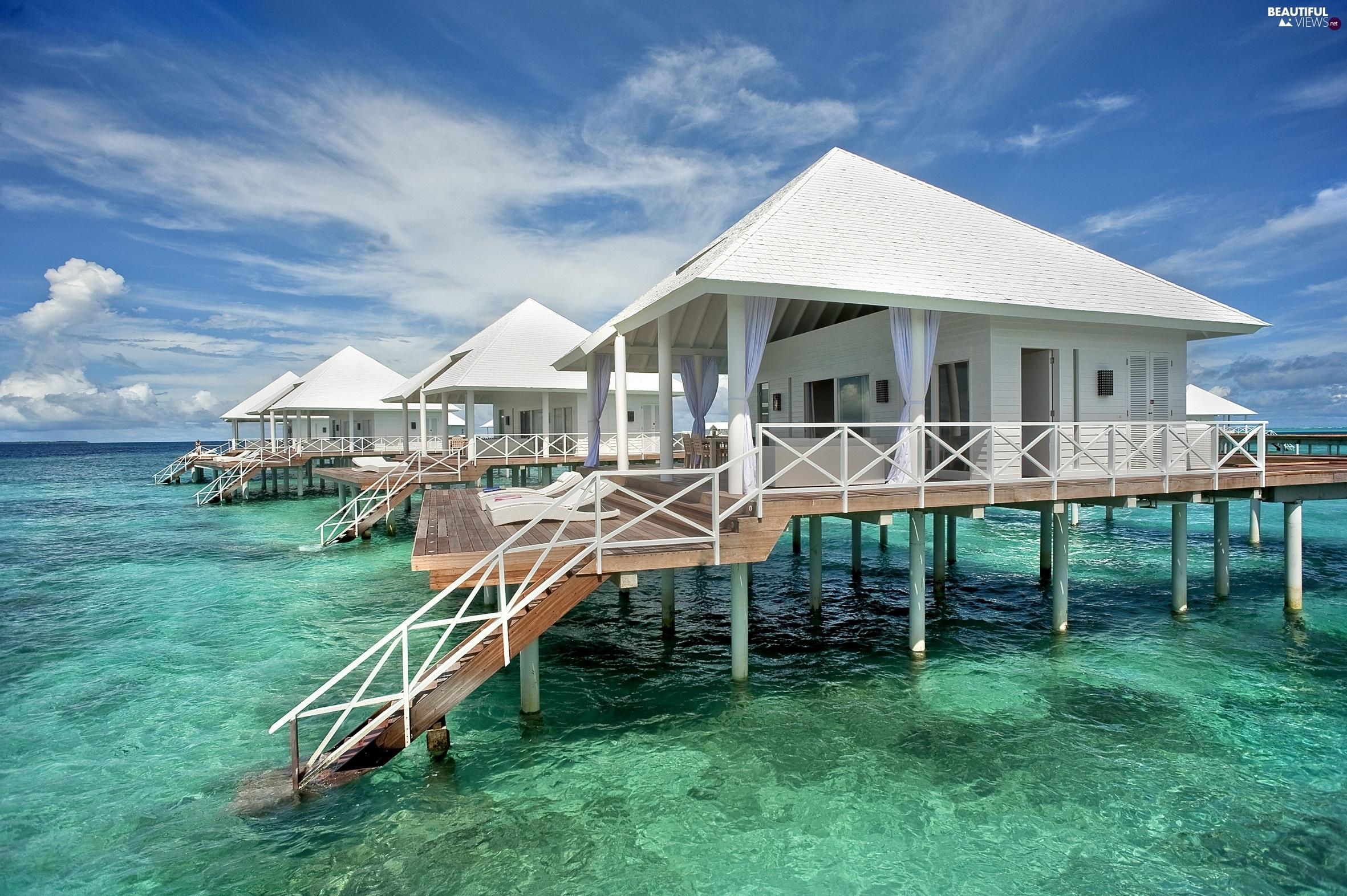 maldives, tropical, sea, houses - beautiful views wallpapers