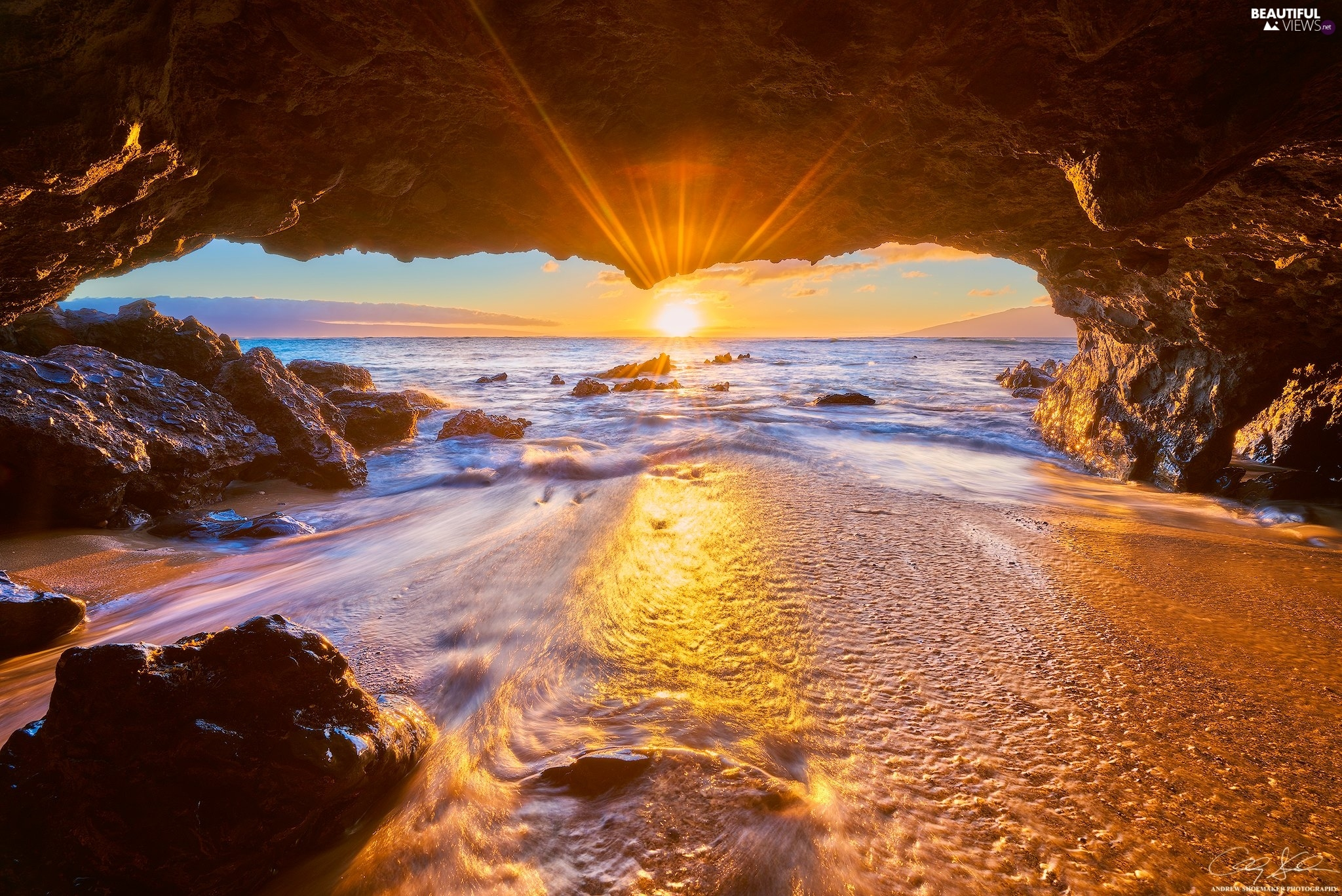 cave, Pacific Ocean, rocks, Aloha State Hawaje, Great Sunsets, Maui