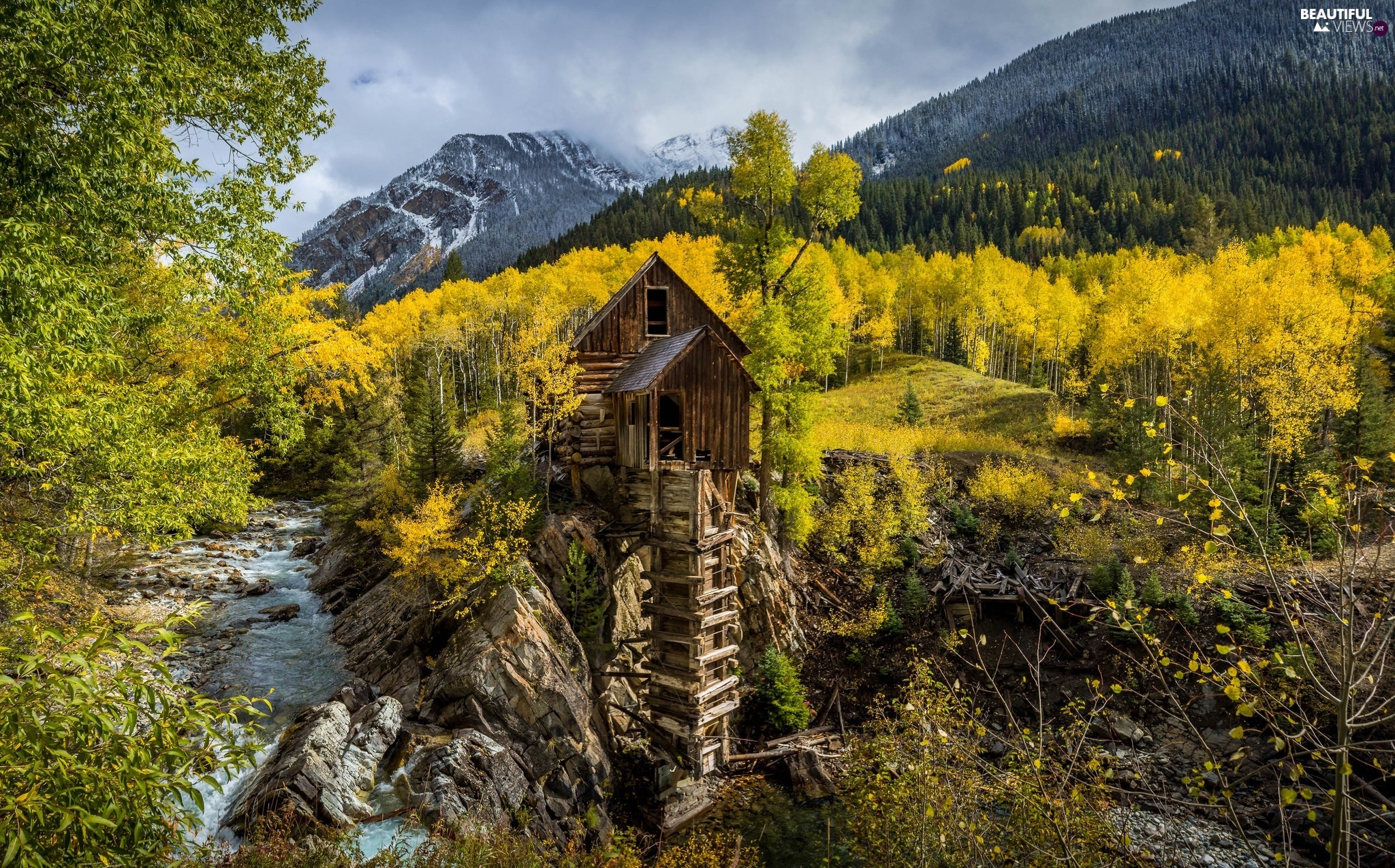 forest, trees, viewes, River, Mountains, The United States, State of Colorado, autumn, Crystal Mill
