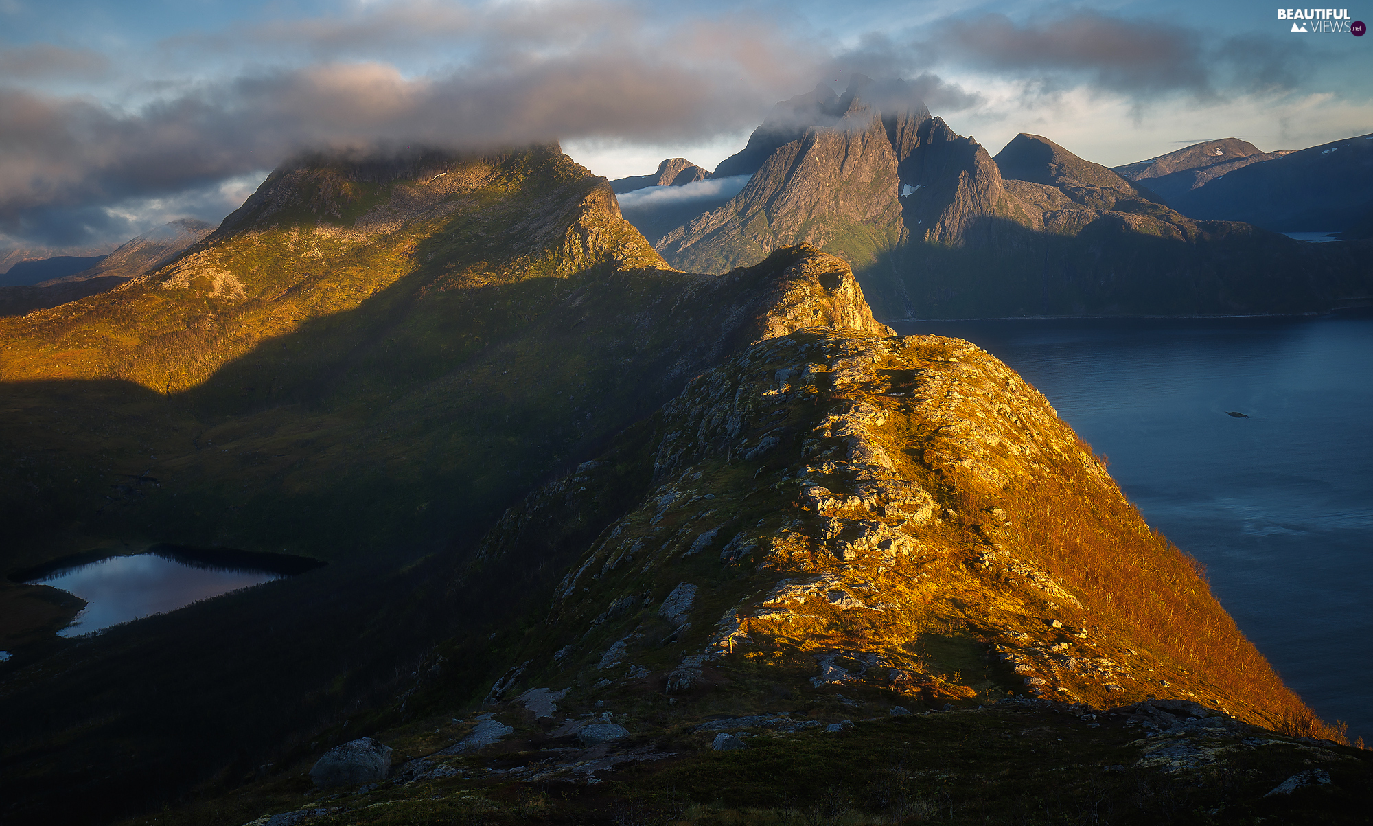 Mountains, Norway, sea, clouds, peaks, Senja Island