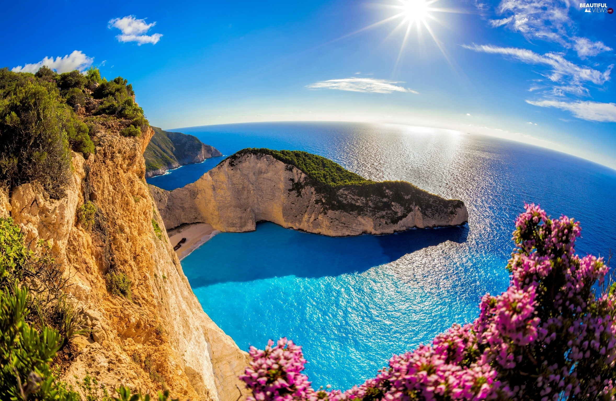 Backgrounds 2356x1536 Sea Navagio Beach