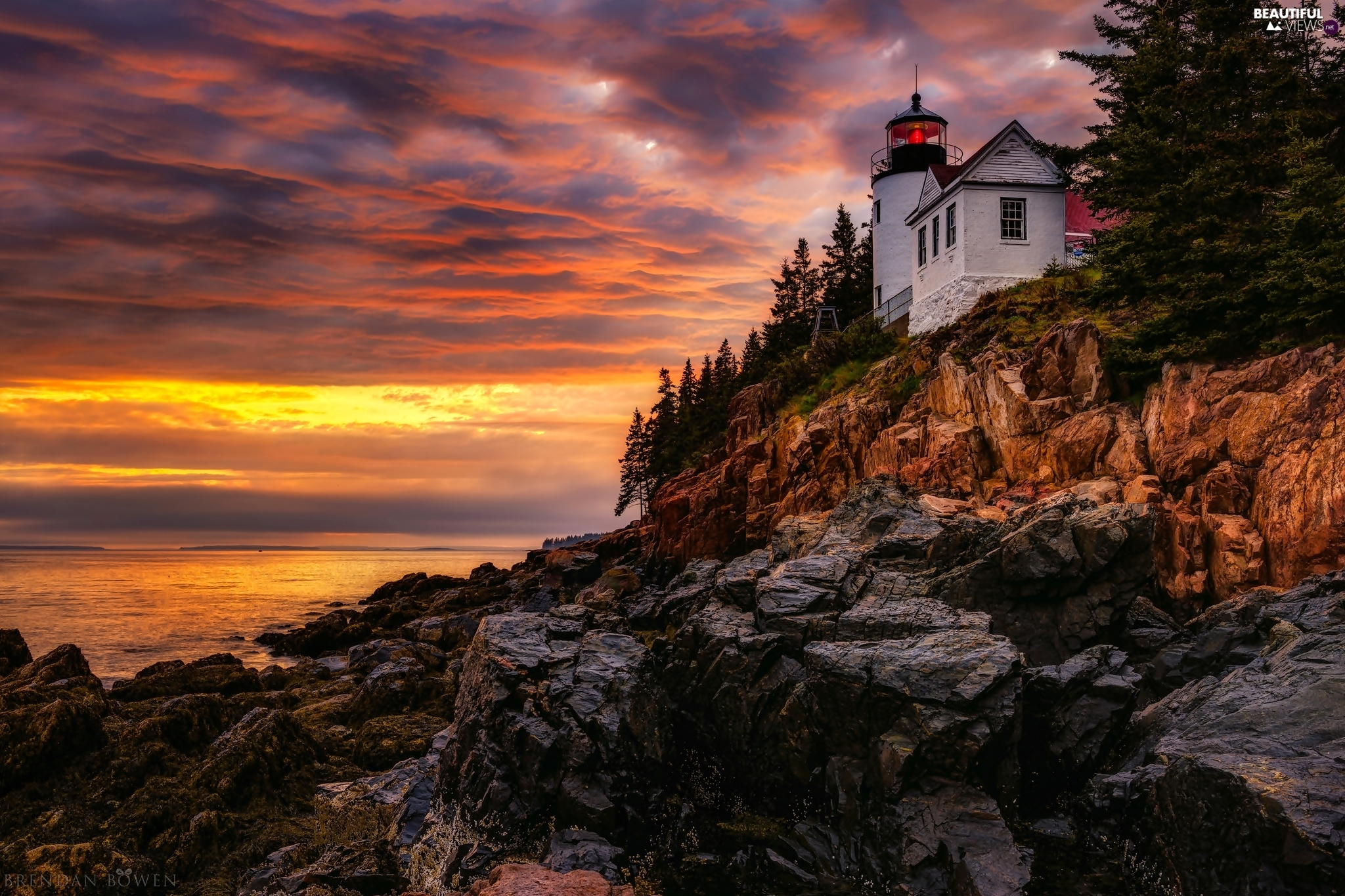 sea, bass harbor, rocks, Lighthouses, The United States, State of Maine, Great Sunsets, Acadia National Park