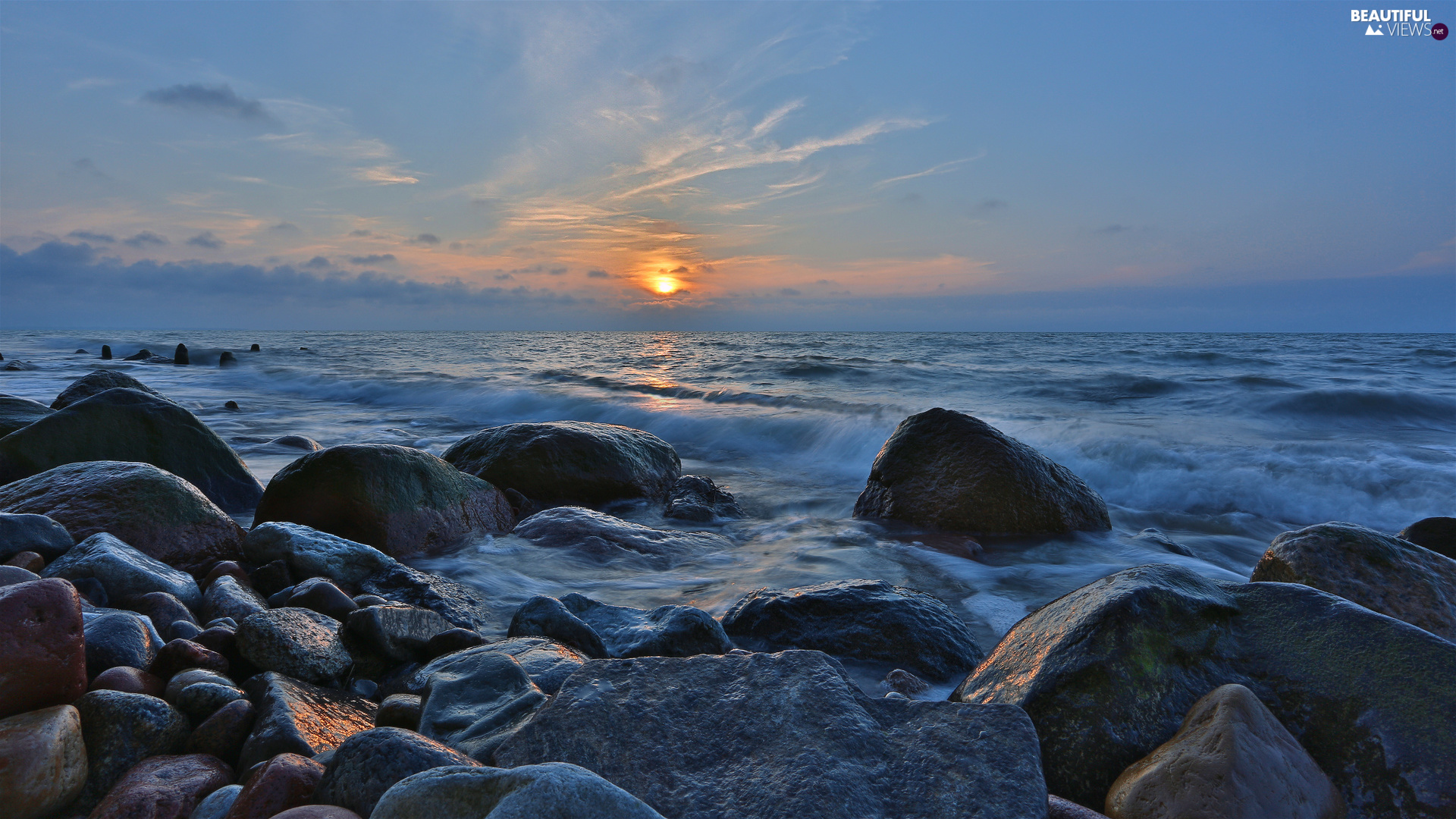 sea, Great Sunsets, Stones