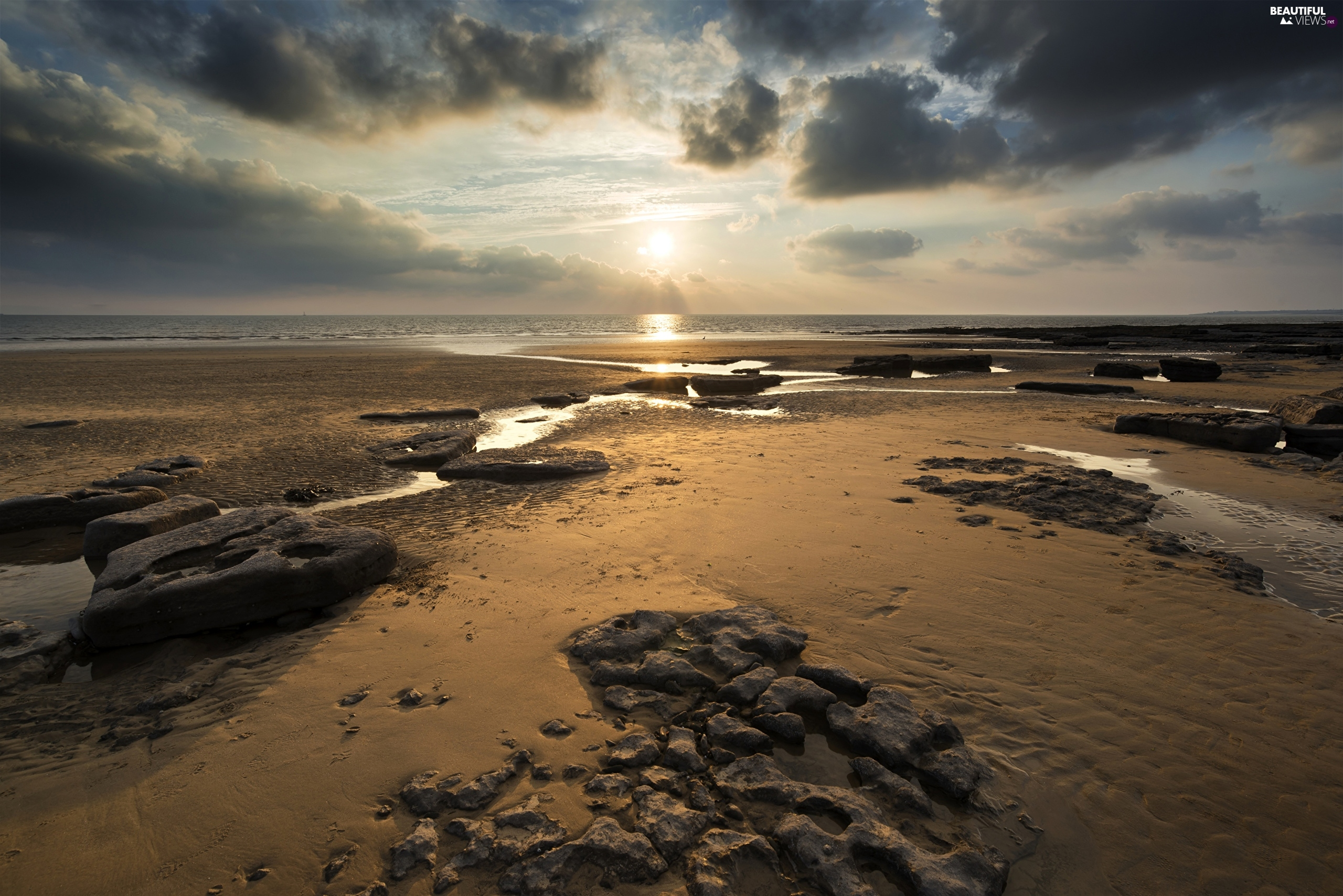 clouds, sea, Sunrise, wales, Sky, Dunraven Bay Beach, Stones