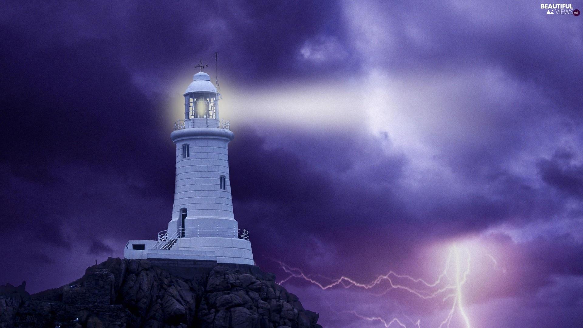Lighthouse, Storm, thunderbolt, maritime - Beautiful views ...