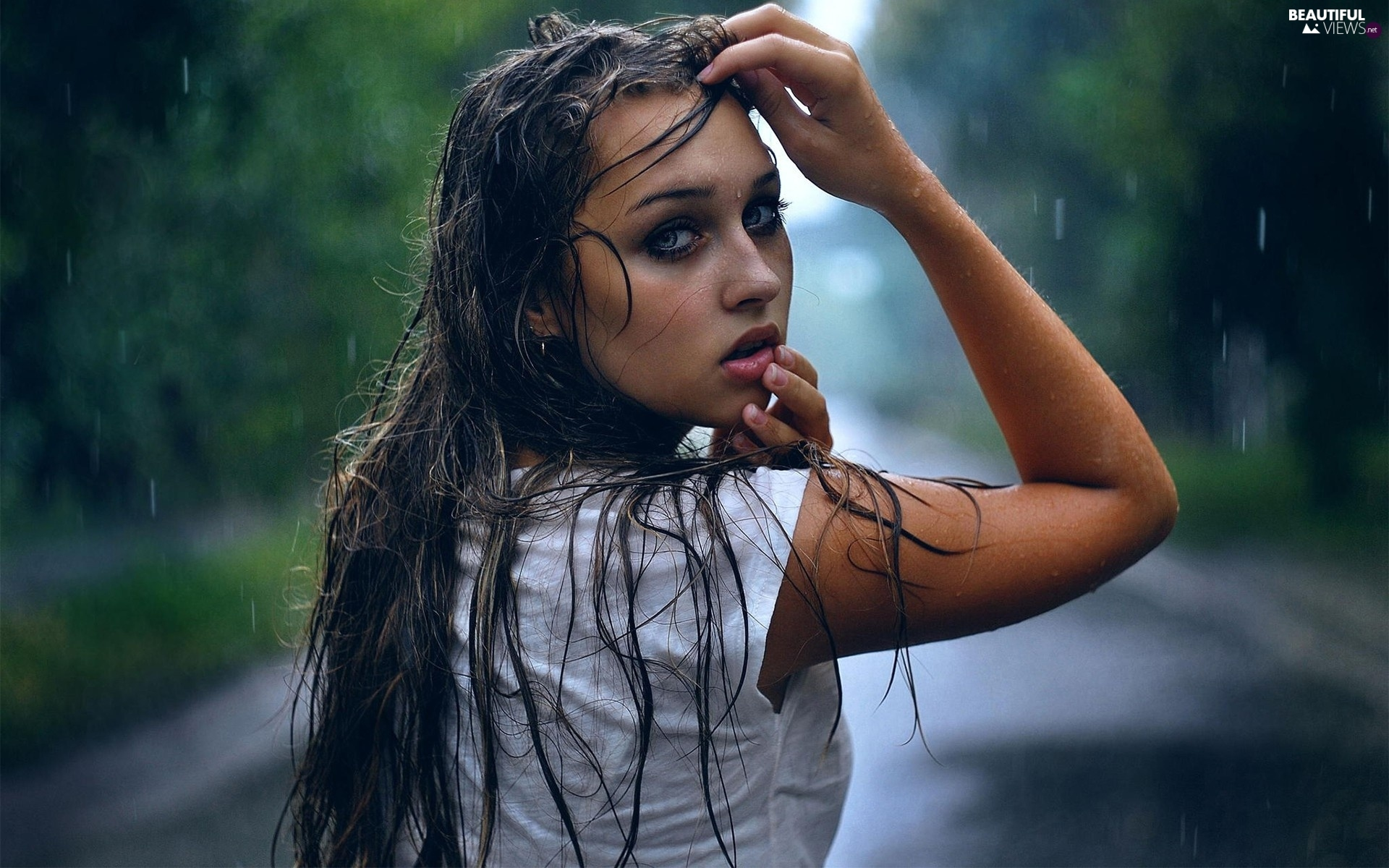 hair, women, make-up, the look, rain, wet - beautiful views