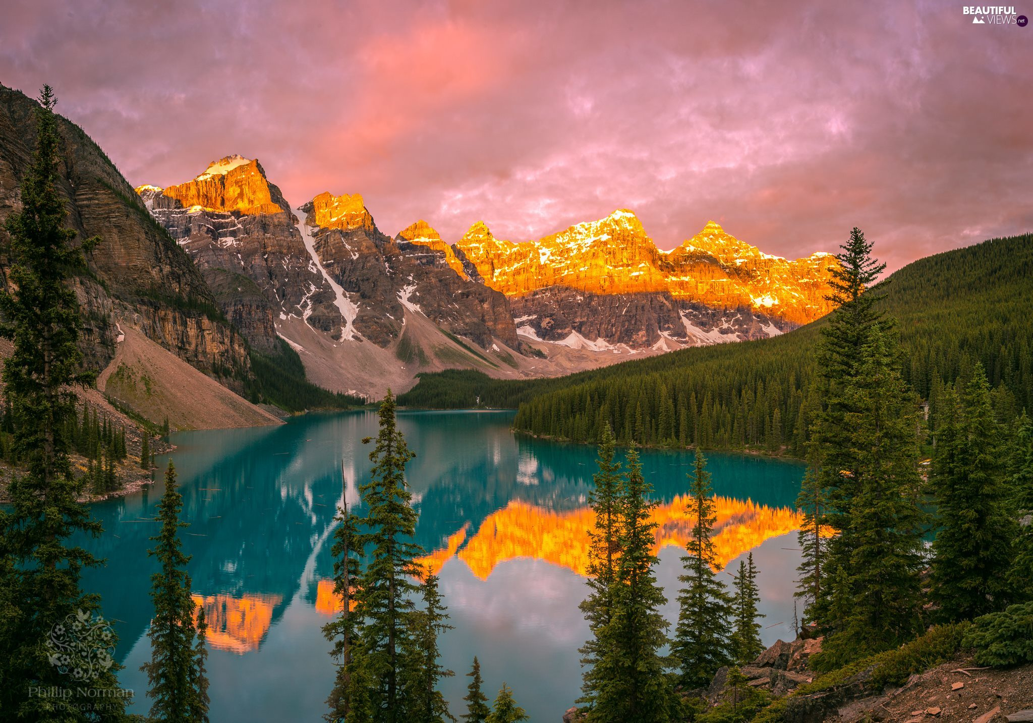 Lake Moraine, woods, trees, clouds, viewes, Canada, Banff National Park, reflection, Mountains
