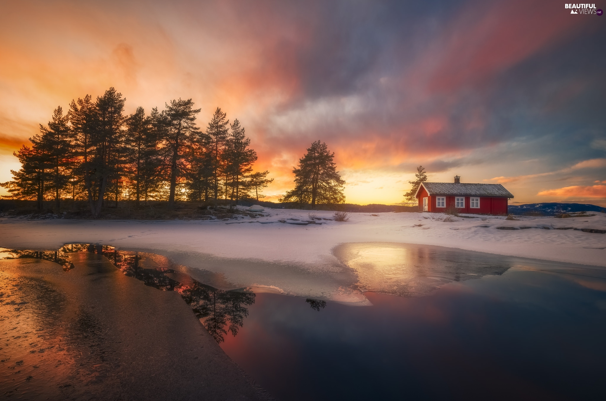 Great Sunsets, lake, trees, Home, Ringerike, Norway, viewes, winter