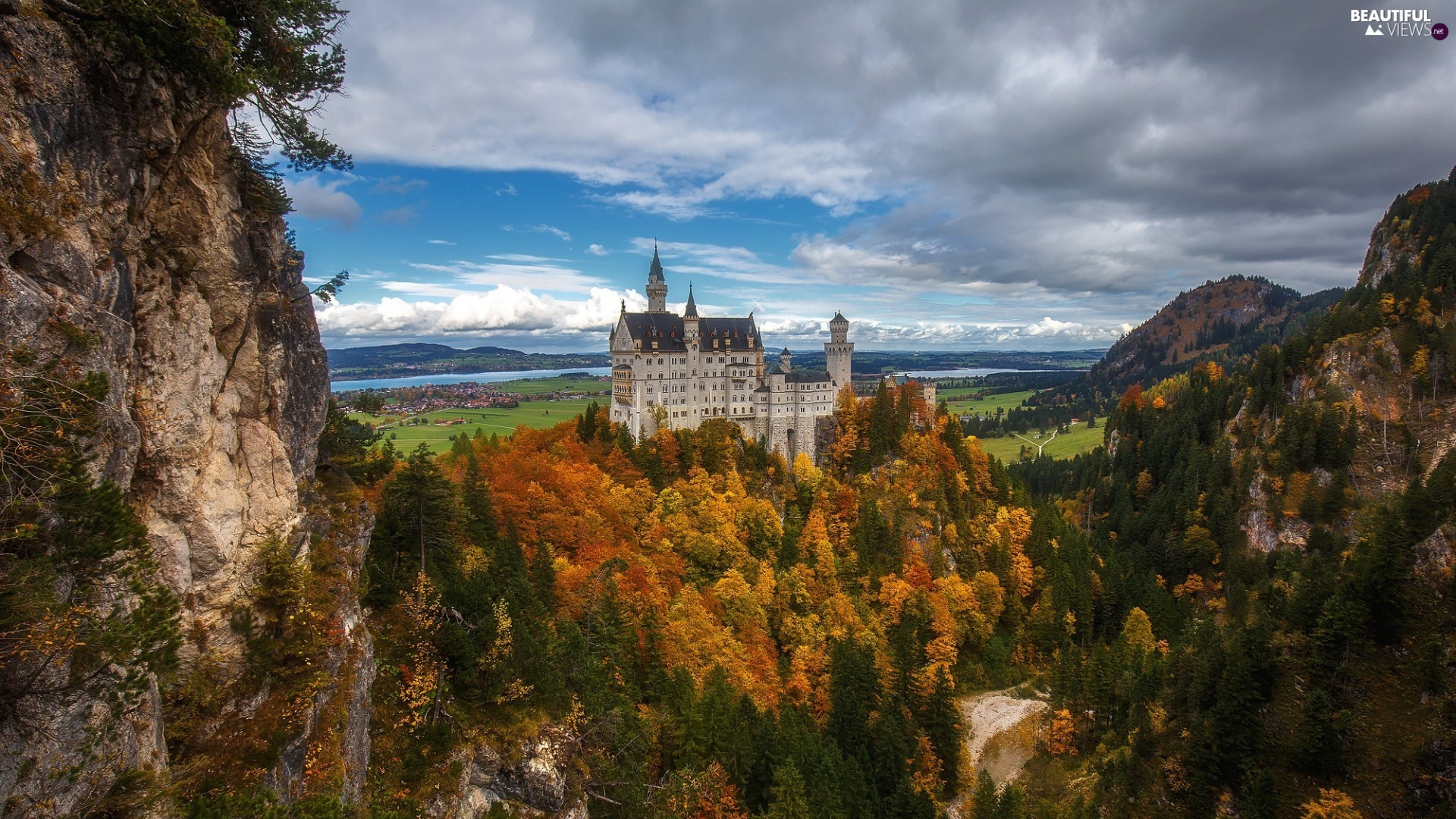 viewes, woods, rocks, Germany, trees, Bavaria, Neuschwanstein Castle