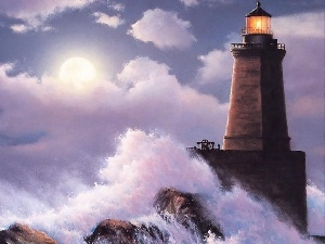 Lighthouse, Waves, Art, sea
