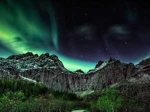 Mountains, Norway, aurora polaris
