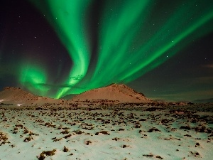 Mountains, Sky, aurora polaris