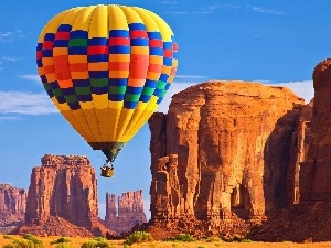 Balloon, canyon, Sky