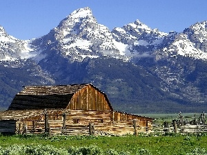 Barn, Mountains, grass