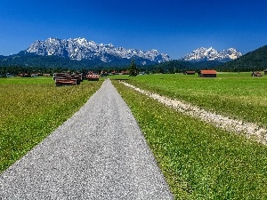 Bavaria, Germany, medows, Houses, Way