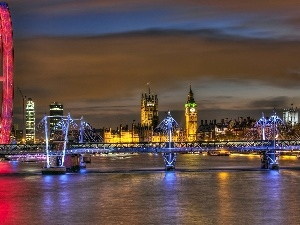 bridge, thames, Big Ben, London Eye, Palace of Westminster