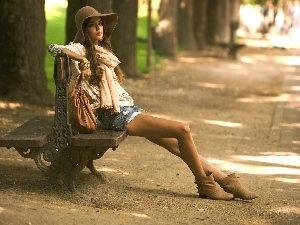 Women, Park, Bench, Hat