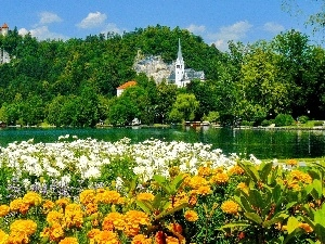 lake, church, Bled, Slovenia, Flowers, Castle