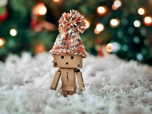 Danbo, lights, blur, winter