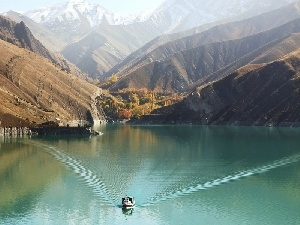 Boat, Mountains, lake