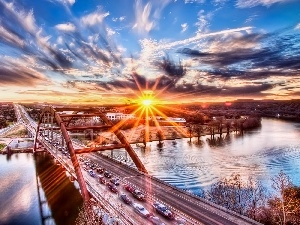 River, sun, bridge, west