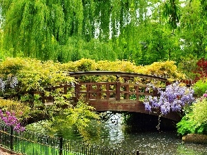 brook, Garden, bridges