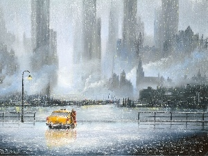 Town, painting, Cab, lovers, Rain, picture