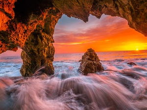 Malibu, sea, Great Sunsets, Waves, rocks, California, The United States, cave