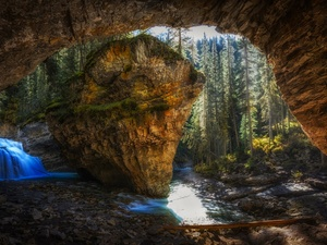 cave, Banff National Park, waterfall, Johnston Canyon, Canada, Rocks, morning