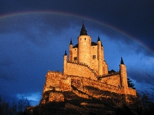 clouds, Great Rainbows, Castle