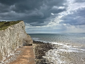 cliff, clouds, sea