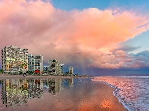 Hotels, Beaches, clouds, sea