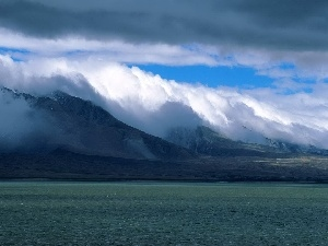 clouds, lake, Mountains