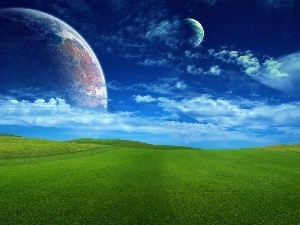 clouds, Meadow, Planet
