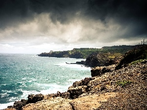 sea, coast, clouds, craggy
