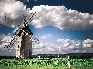 clouds, Windmill, Sky
