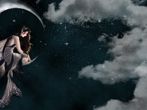 clouds, Stars, Women, moon, graphics