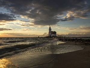 Waves, maritime, rays, Coast, Lighthouse, clouds, sun