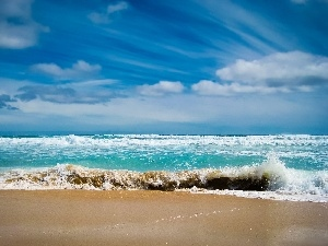 water, Sand, clouds, Waves