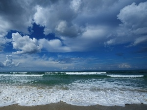 clouds, sea, Waves
