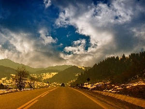 Way, woods, clouds, Mountains