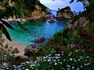 rocks, sea, Greece, Corfu Island, Coast, Beaches