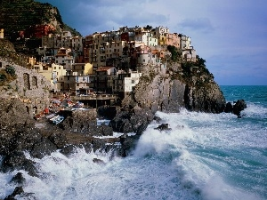Houses, Rock, Coast, an