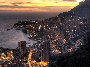 panorama, Night, Coast, town