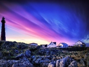 Houses, Lighthouse, color, Sky, rocks, maritime