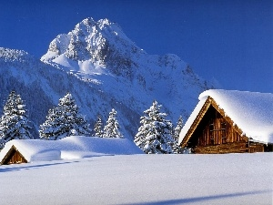 cover, snow, Mountains, thick, winter