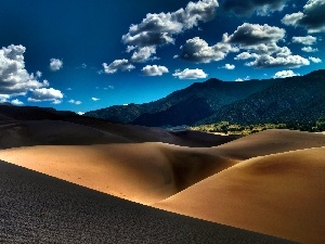 clouds, Sand, desert, Mountains