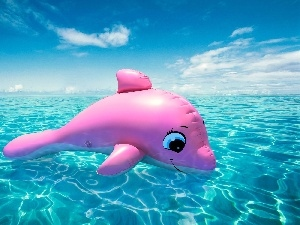 sea, Inflatable, dolphin, Pink
