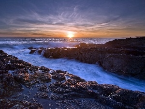 east, sun, Coast, rocks, sea