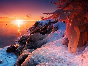 icicle, rocks, sun, ice, Coast, east, winter